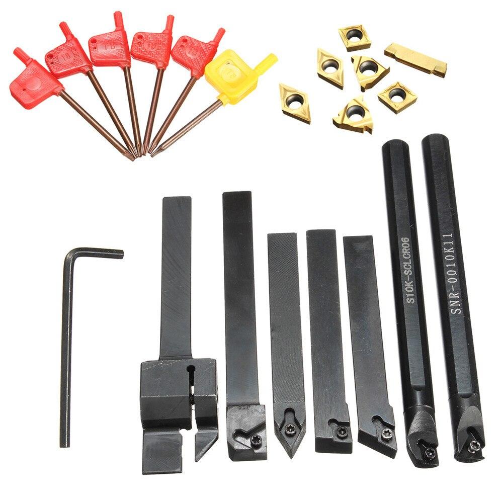 21PCS/SET Carbide Insert External Lathe Internal Turning Tool Holder Boring Bar Lathe Turning Tool Holder + T8 Wrenches
